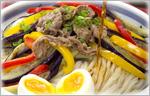 讃岐うどんの鍋レシピ 茄子とお肉のぶっかけ