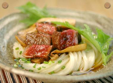 讃岐うどんの亀城庵公認レシピ ステーキ風ぶっかけうどん
