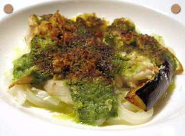 讃岐うどんの亀城庵公認レシピ 讃岐うどんと白子と色々野菜のエスカルゴ