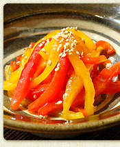 塩スープで作るパプリカのナムル