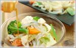 讃岐うどんの野菜たっぷりレシピ 温野菜とささみのヘルシーサラダうどん