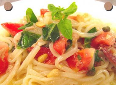 讃岐うどんの亀城庵公認レシピ 冷製イタリアンカラーパスタ風うどん